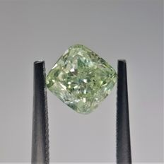 1.13ct Cushion Cut Diamond Fancy Yellow-Green SI2