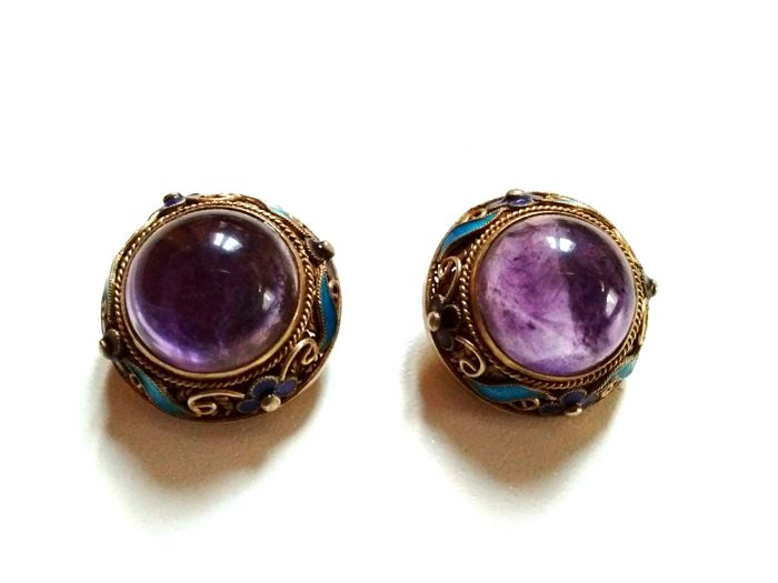 filled stone hanging emmie jewellery ring earrings earring amethyst half with purple lane round gold disc harper