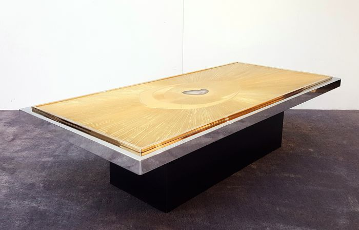 Willy Daro   Etched Brass And Agate Coffee Table