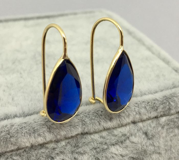 18kt Yellow Gold, Deep Blue Tear Drop Earrings-2.gs NO RESERVE.
