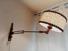 Unknown designer - flexible lamp with swivel arm, teak and jute lamp shade