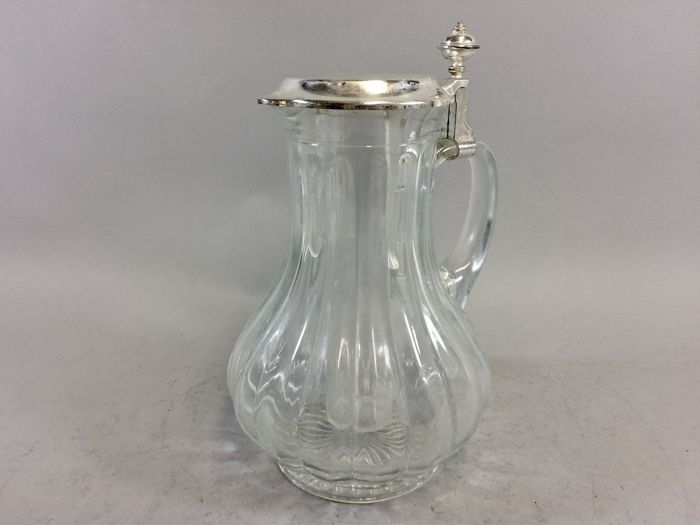 Large glass water jug with silver plated hinge lid and container for ice cubes, mid 20th century 16/3