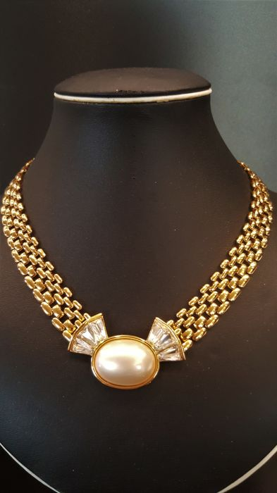 TRIFARI - Faux Pearl Crystal Necklace