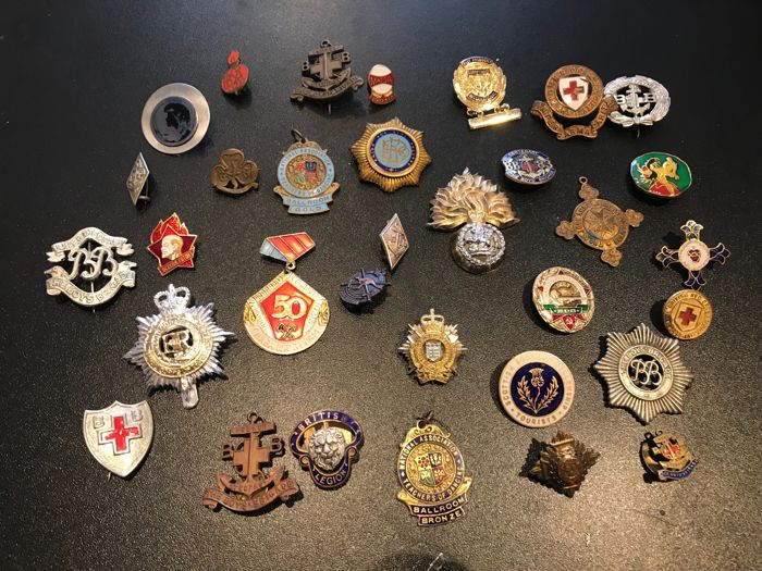 Collection rare Masonic police war Pins badges medals also lots others fire police badges