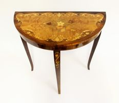 Italian half moon table with marquetry and a music box Swiss Musical Movement