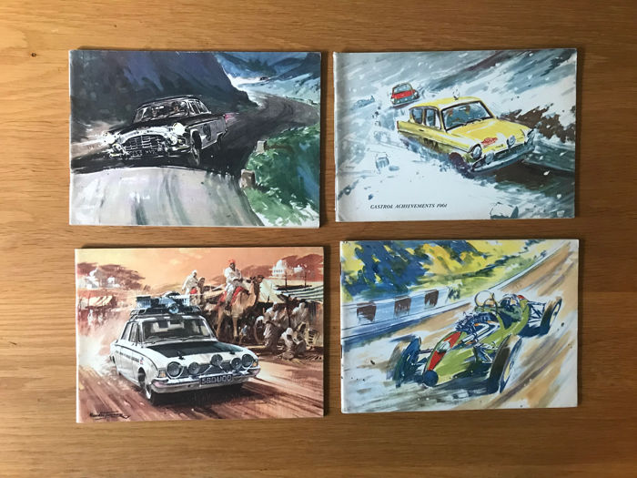 (4) Castrol Achievements 1961,1959,1957 1963, Mini, Aston Martin  Healey Alpine Rally, Motor Racing ++++