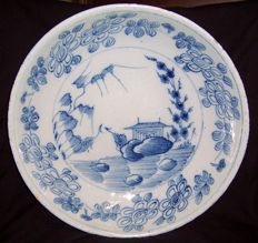 An English delftware deep dish, probably Bristol, mid 18th century