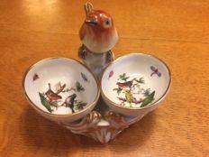 Herend, Rothschild pepper and salt  pots with a bird sculpture