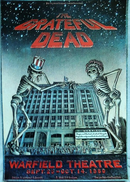 "1980 Grateful Dead ""WARFIELD"" San Francisco Poster"