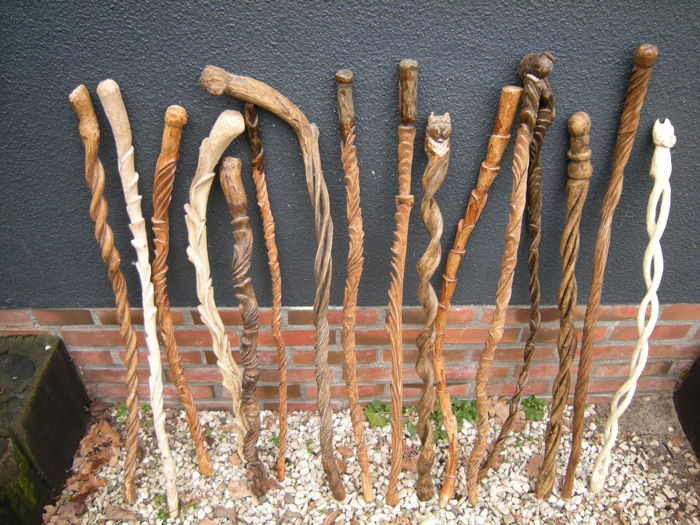 Collection of 16 canes, craft works, folk art