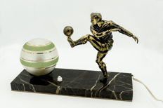 Art Deco table lamp with football player