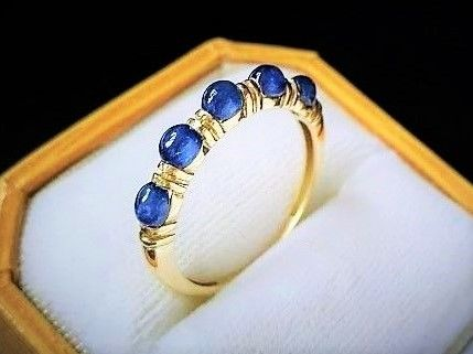 New ring made in Spain with 5 Sapphires of 1.50 carat in total and 14 kt Gold - 18.5 mm in diameter