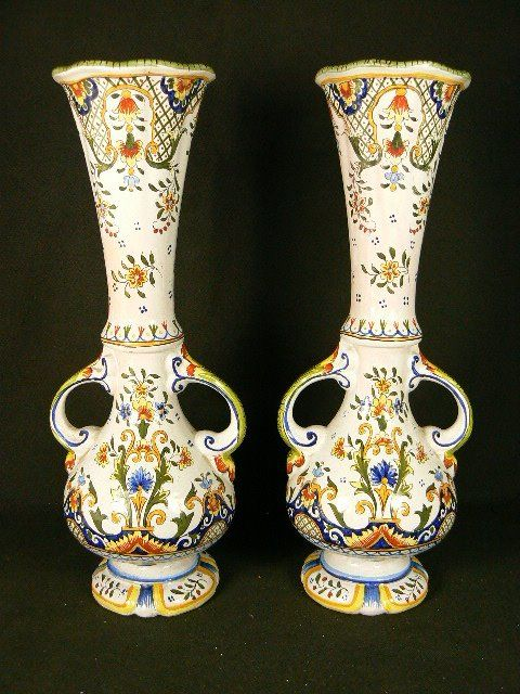 Desvres Jules Verlingue Pair Of Large Decorated Vases Catawiki