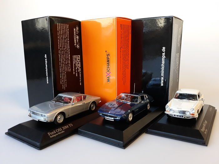 MaXichamps / Minichamps - Scale 1/43 - Lot with 3 classic models: Ford, Maserati & Peugeot