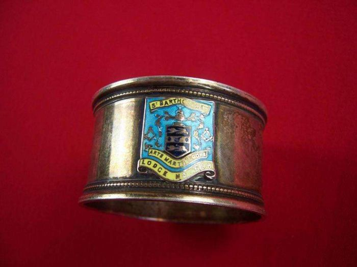 Masonic silver napkin ring possibly Hasset & Harper Ltd - Birmingham - 1927