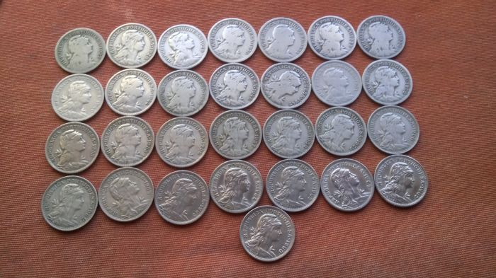 Portugal Republic - Complete Set - 50 Centavos - 1927 to 1968 - Alpacca