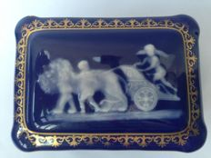 Limoges Jewelry box with angel relief by Camille Tharaud