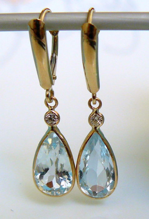 6.16 ct earrings with aquamarine and diamonds -no reserve-