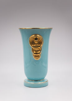 Charles Catteau - Boch Frères Keramis - Turquoise and gold Art Deco vase