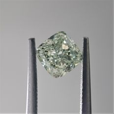 1.14ct Cushion Cut Diamond Fancy Yellow-Green I1