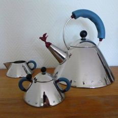 Michael Graves for Alessi - whistling tea kettle and sugar and cream set