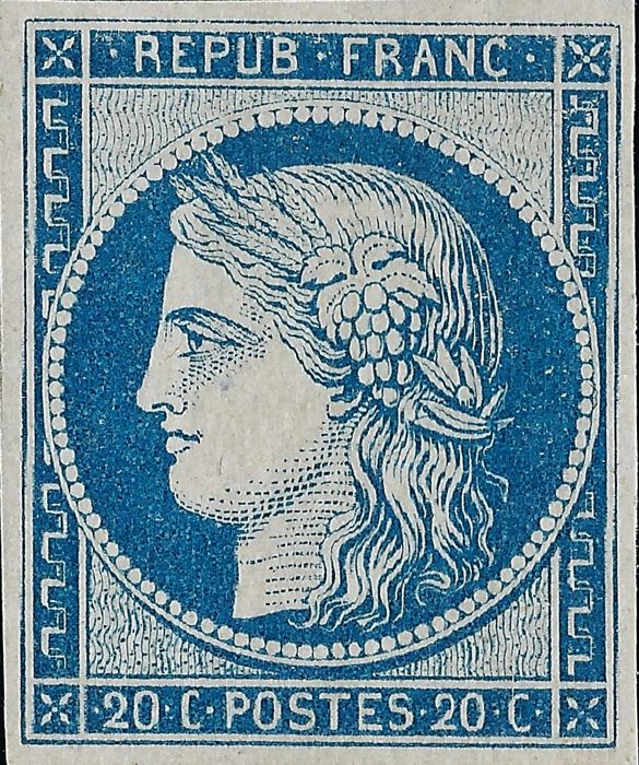 France 1849 – 20 centimes, blue reprint from 1862 with a Ceres certificate – Yvert n°8f