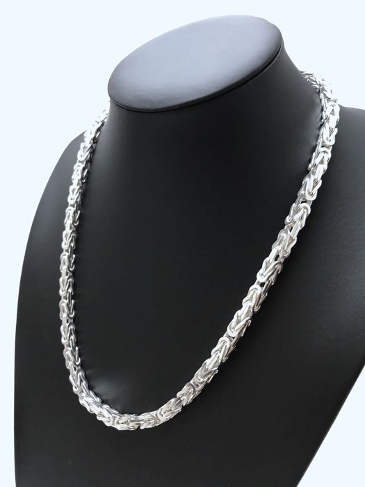 Silver King´s braid link necklace (925k) 55 cm - 110 g
