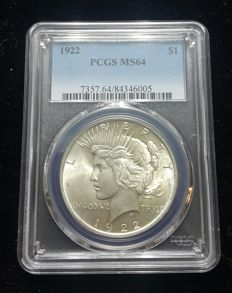 United States - Peace Dollar 1922 in PCGS Slab - silver