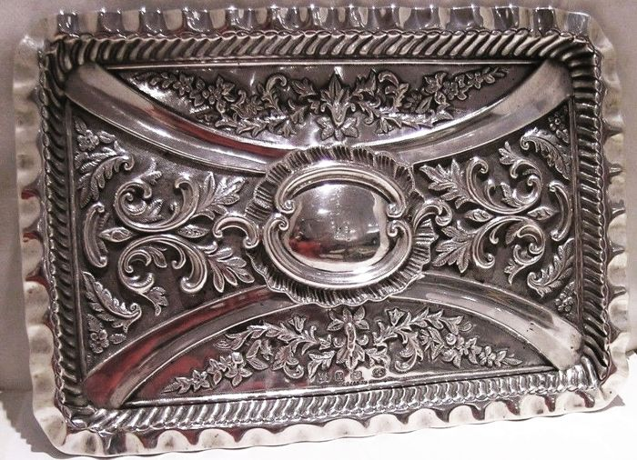 A Victorian heavy solid silver serving tray - William M Hayes - Birmingham - 1897