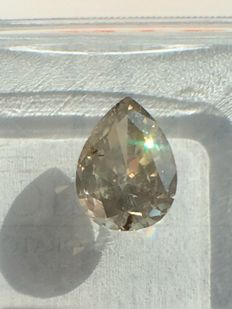 1.03 ct Pear cut Diamond Natural untreated fancy Greenish Yellow   **No Reserve Price**