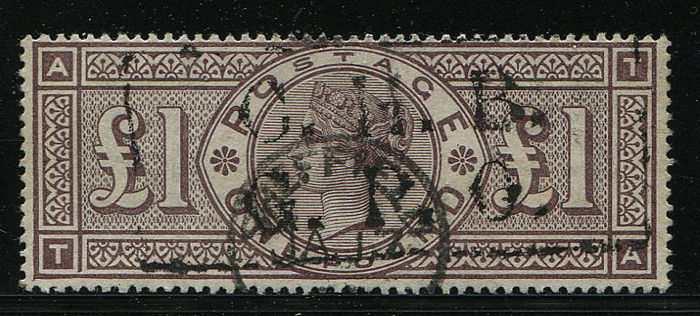 Great Britain 1883/1884 - Queen Victoria £1 brown lilac - Stanley Gibbons 185a, Error frame broken