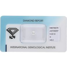 0.22 ct round brilliant cut diamond, D VS2