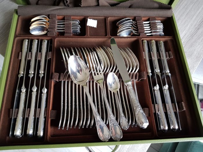 Christofle, Marly cutlery set in silver metal, 149 pieces