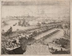 Romeyn de Hooghe (1645-1708)  - Farnese's Ship Bridge over the Scheldt - Ca. 1690