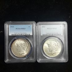 United States - Peace Dollars 1922 and 1923 in PCGS Slabs (2 coins) - silver