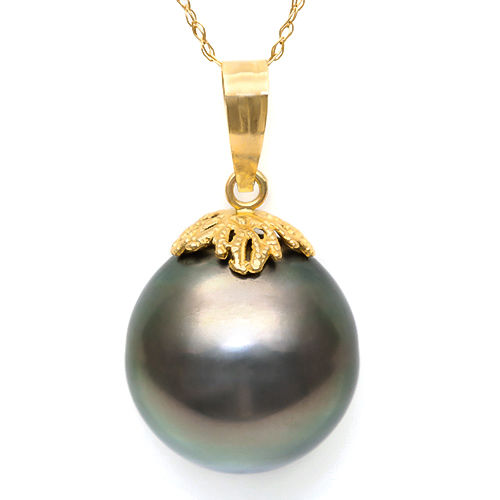Pendant made of 14 kt Yellow Gold with 24.31 x 14.00 mm Tahitian Black Pearl **no reserve price**