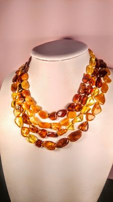 Egg yolk, Ruby and Lemon colours Baltic Amber necklace, length 200 cm