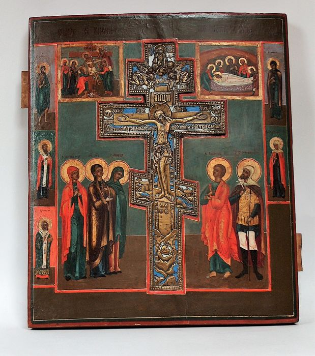 "Russian Orthodox Icon ""The Crucifixion of Christ"" with a bronze blessing cross - tempera on a wooden board – end of XIX century"