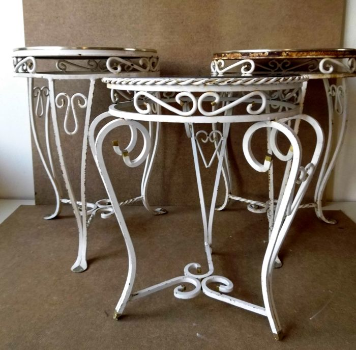 Three White Wrought Iron Side Tables Outdoor Tables With Catawiki