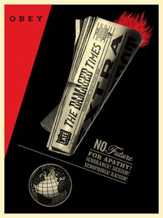 Shepard Fairey (OBEY) - Damaged Times + Newspaper