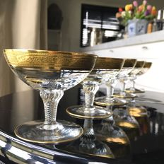 Set of 5, crystal Liqueur cordial glasses, coupes, rich textured gold mintonborde, 24 carat Gold rim. Exclusive Barware. Bar Cart items.