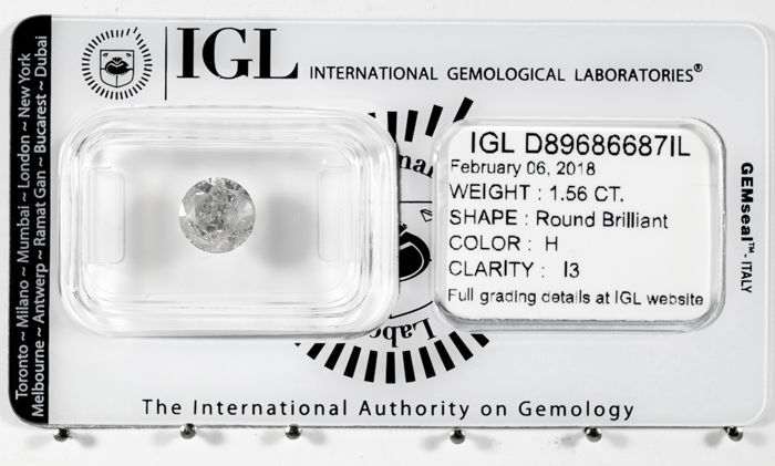 1.56 ct brilliant cut diamond  H / I3   *** Low Reserve ***