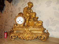 Large Bronze-Coloured French Mantel Clock - Double Putti Figures - Duplay & Salles Fab.St. a Paris