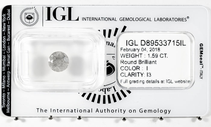 1.59 ct brilliant cut diamond  I / I3   *** No Reserve ***