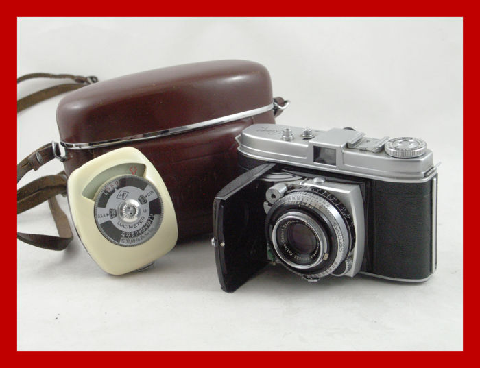 Beautiful Kodak Retina Ib [type 018] with nice leather bag and a light meter by Agfa from 1954 / 1957