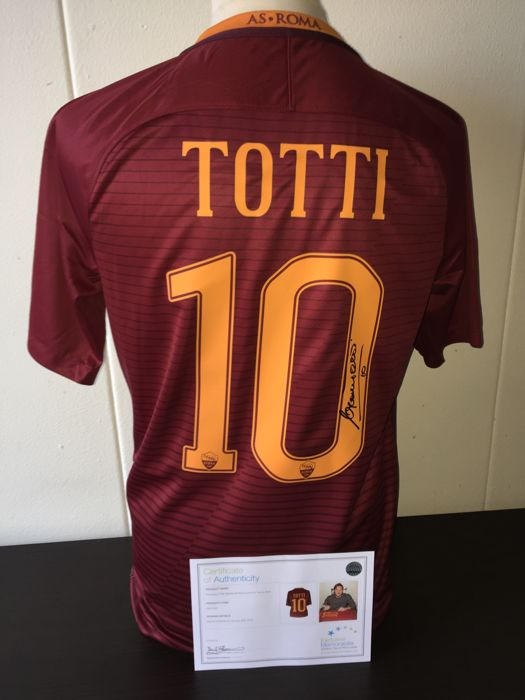 Francesco Totti / AS ROMA - Hand Signed home shirt 2016/2017 (His last ever shirt!) + COA & Photoproof.