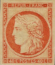 France 1850 – 40 centimes, orange reprint from 1862 with a Roumet certificate – Yvert n°5g