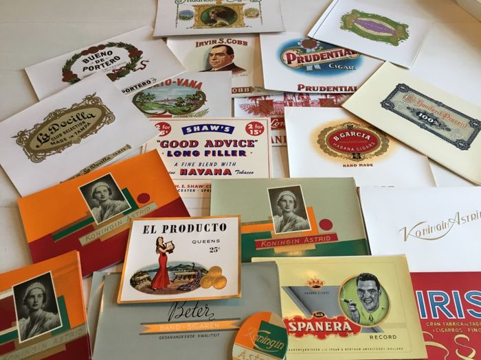 299 large and original cigar box labels from various countries
