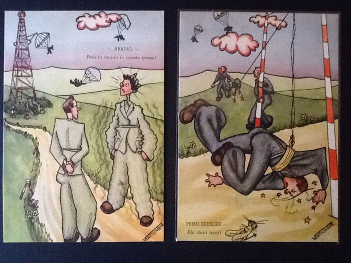"Wonderful collection of caricature postcards by the illustrator ""Venticinque"""