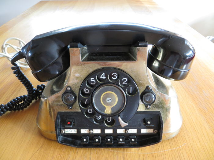 Telephone with brass top layer, 1960s, Belgium/Netherlands